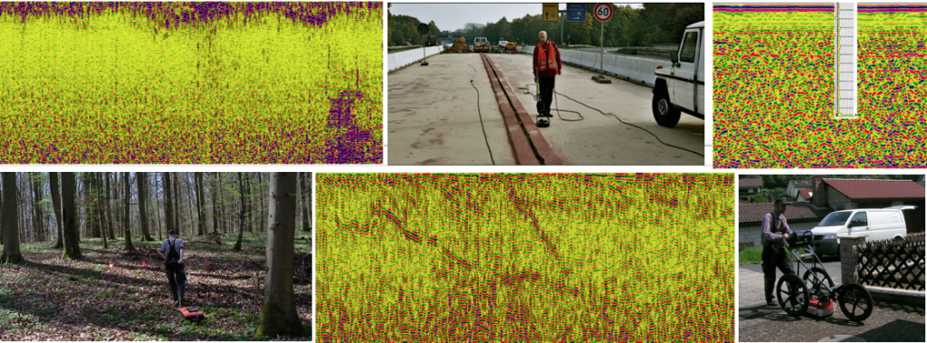 Bodenradar Beispiele aus der Praxis - Gelände und Radargramme
