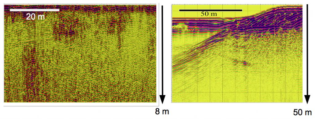 Beispiele Radargramme für größere Untersuchungstiefen